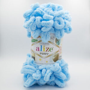 Пряжа плюшевая Alize Puffy 287 нежная голубая бирюза
