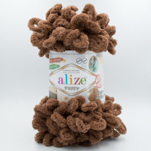 Пряжа плюшевая Alize Puffy 321 коричневый