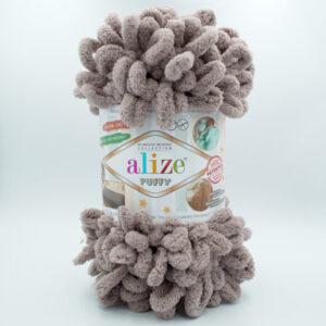 Пряжа плюшевая Alize Puffy 530 серо-коричневый