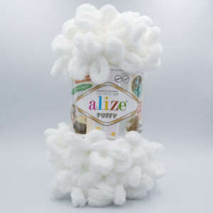 Пряжа плюшевая Alize Puffy 55 белый