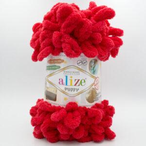 Пряжа плюшевая Alize Puffy 56 красный
