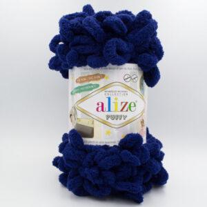 Пряжа плюшевая Alize Puffy 58 темно-синий