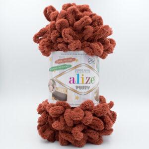 Пряжа плюшевая Alize Puffy 597 красно-коричневый