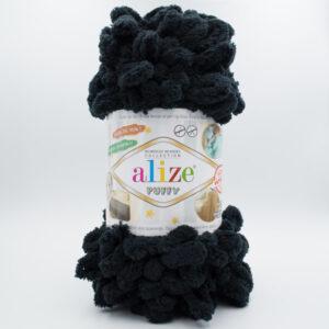Пряжа плюшевая Alize Puffy 60 черный