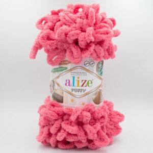 Пряжа плюшевая Alize Puffy 619 коралловый