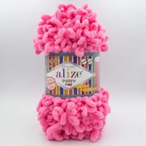 Пряжа плюшевая Alize Puffy Fine 121 ярко-розовый