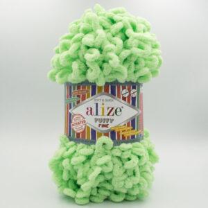 Пряжа плюшевая Alize Puffy Fine 516 яркий салатовый