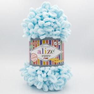 Пряжа плюшевая Alize Puffy Fine 522 нежная голубая бирюза