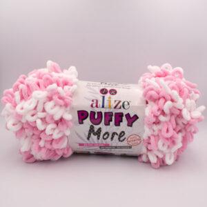 Пряжа плюшевая Alize Puffy More 6267 розовый-белый