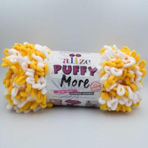 Пряжа плюшевая Alize Puffy More 6282 желто-белый