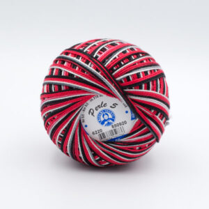 Пряжа Madame Tricote Perle 5 6220 красный-белый-черный