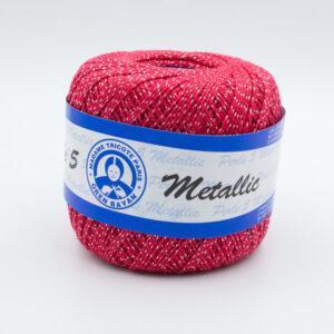 Пряжа Madame Tricote Perle 5 0128 красный с люрексом