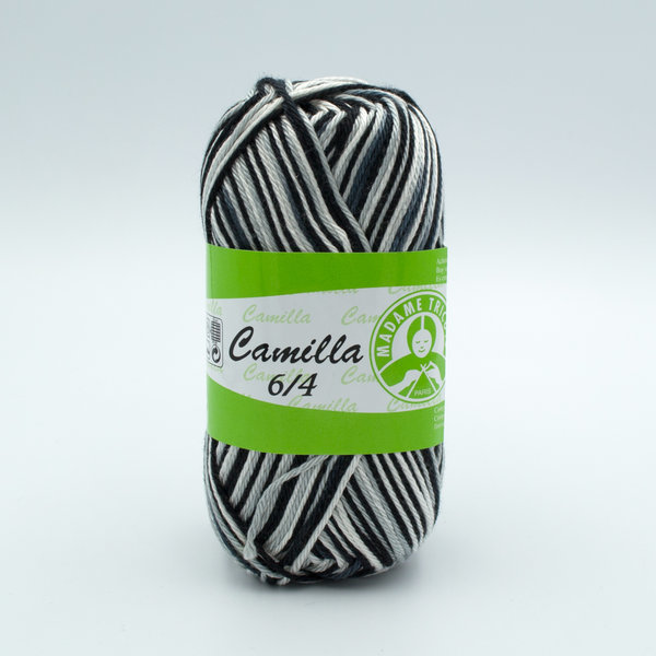 Пряжа Madame Tricote Camilla 6216 черный-серый-белый