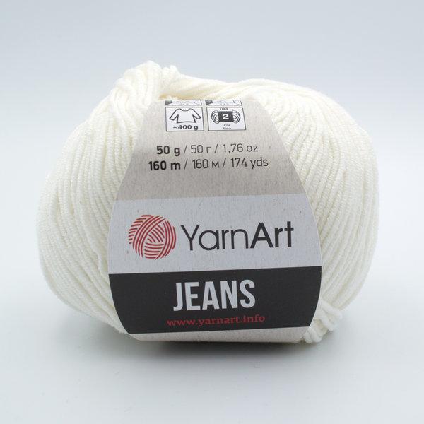 Пряжа YarnArt Jeans 01 молочно-белый