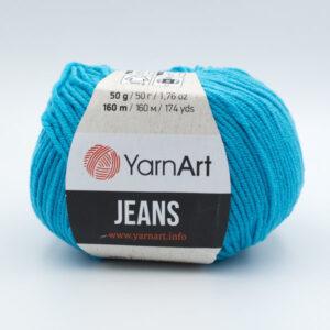 Пряжа YarnArt Jeans 55 голубая бирюза