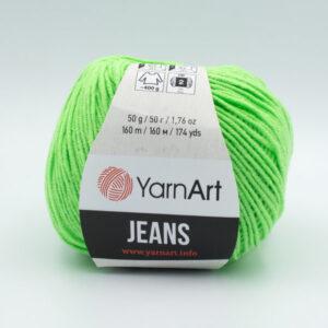 Пряжа YarnArt Jeans 60 яркий салатовый