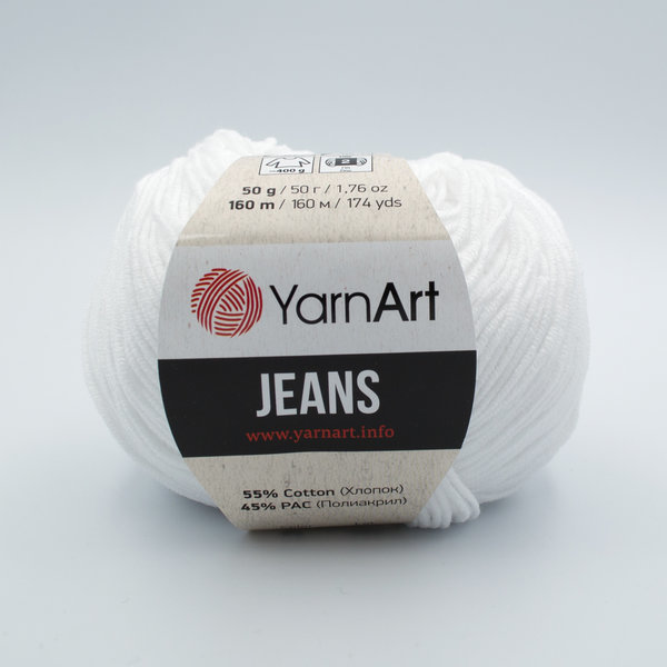 Пряжа YarnArt Jeans 62 белый