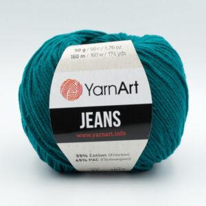 Пряжа YarnArt Jeans 63 темно-зеленая бирюза
