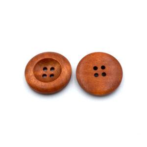 Пуговица деревянная круглая красно-коричневая 25 мм