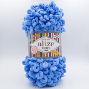 Пряжа плюшевая Alize Puffy Fine 112 голубой