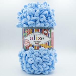 Пряжа плюшевая Alize Puffy Fine 218 светло-голубой