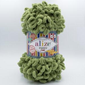 Пряжа плюшевая Alize Puffy Fine 485 зеленый