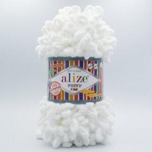 Пряжа плюшевая Alize Puffy Fine 55 белый