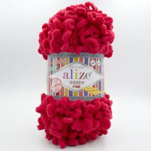 Пряжа плюшевая Alize Puffy Fine 56 красный