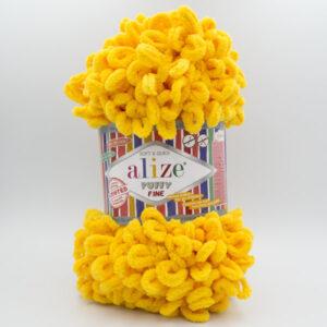 Пряжа плюшевая Alize Puffy Fine 82 желтый