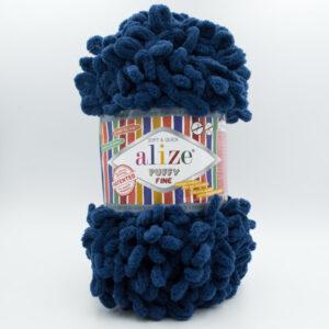Пряжа плюшевая Alize Puffy Fine 93 темно-синий