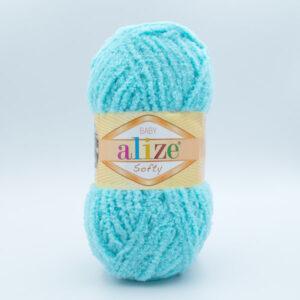 Пряжа плюшевая Alize Softy 128 бирюза
