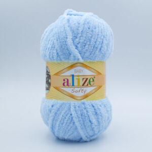 Пряжа плюшевая Alize Softy 183 нежно-голубой