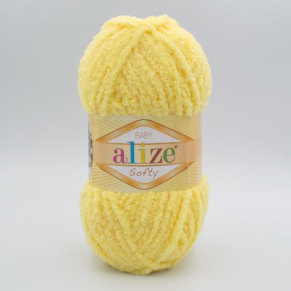 Пряжа плюшевая Alize Softy 187 желтый