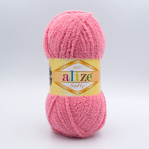 Пряжа плюшевая Alize Softy 265 розово-коралловый