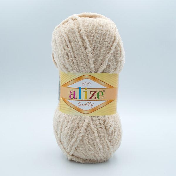 Пряжа плюшевая Alize Softy 310 светло-бежевый
