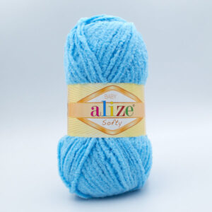 Пряжа плюшевая Alize Softy 364 голубая бирюза
