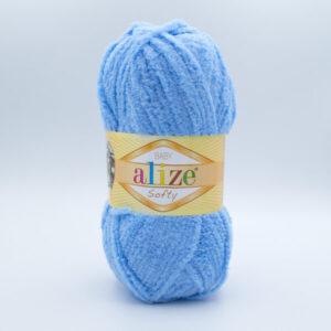 Пряжа плюшевая Alize Softy 40 голубой