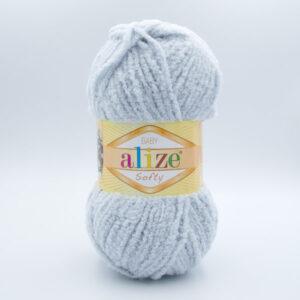 Пряжа плюшевая Alize Softy 416 светло-серый(голубой оттенок)
