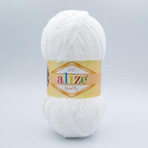 Пряжа плюшевая Alize Softy 450 молочно-белый