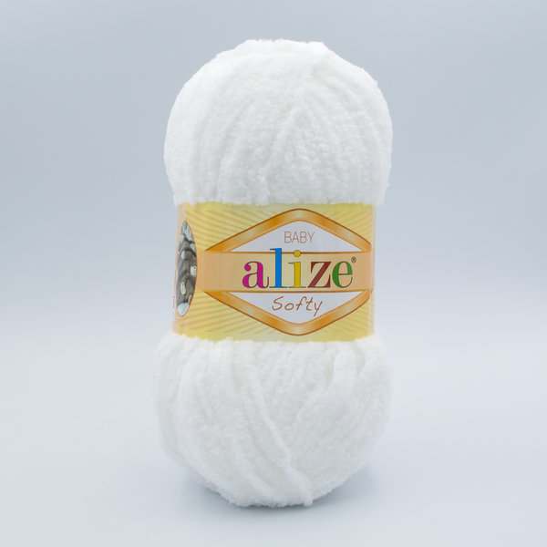 Пряжа плюшевая Alize Softy 55 белый