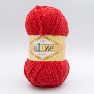 Пряжа плюшевая Alize Softy 56 красный