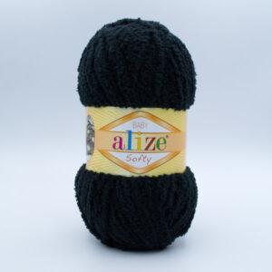 Пряжа плюшевая Alize Softy 60 черный