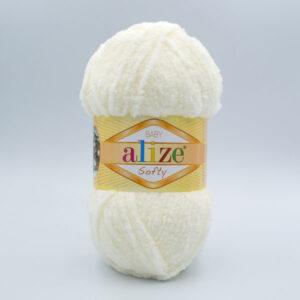 Пряжа плюшевая Alize Softy 62 молочный