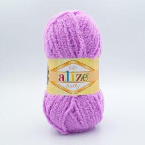 Пряжа плюшевая Alize Softy 672 розово-сиреневый