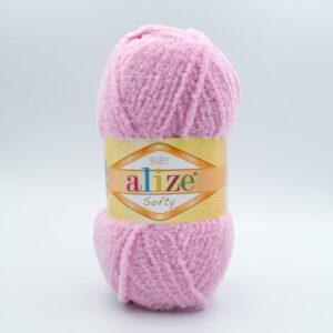 Пряжа плюшевая Alize Softy 98 бледно-розовый