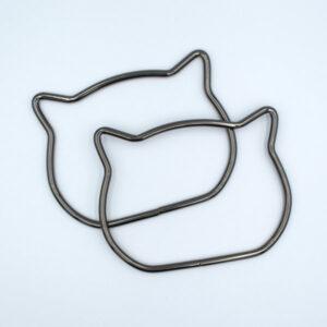Комплект ручек металлических Кошка черный металлик