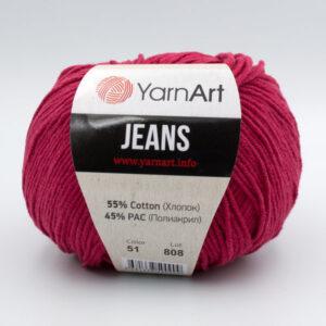 Пряжа YarnArt Jeans 51 темно-красный