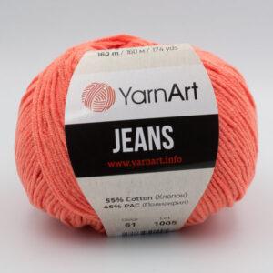 Пряжа YarnArt Jeans 61 оранжево-коралловый