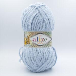 Пряжа плюшевая Alize Softy Plus 500 серо-голубой