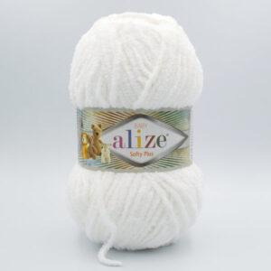 Пряжа плюшевая Alize Softy Plus 55 белый
